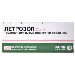 Летрозол, табл. п/о пленочной 2.5 мг №30
